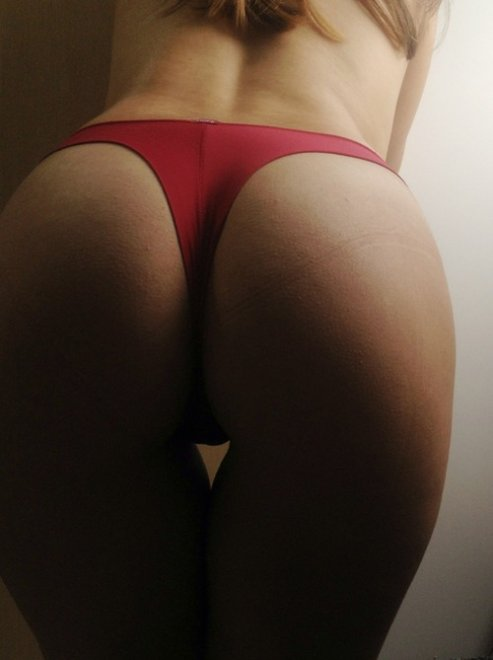 Red thong Porn Photo
