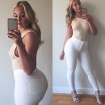 amateur photo Iskra Lawrence in white jeans