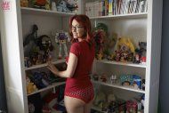 amateur photo Meg Turney in red