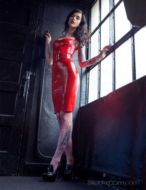 amateur photo Red Latex Pencil Skirt Dress & Tats