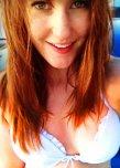 amateur photo Redhead bikini top.