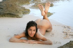 amateur photo Brunette Beauty at the Beach