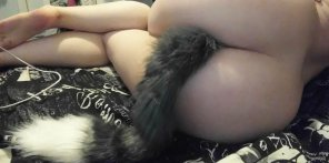 amateur photo I love how soft the tail feels on my legs 😉