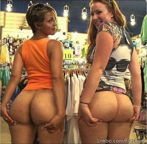 amateur photo Friends mooning in the store
