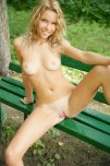 amateur photo Blonde on a bench