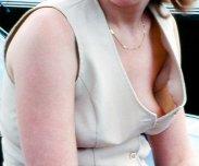 Braless MILF in open top worn in public