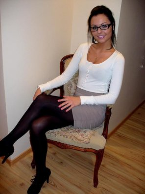 amateur photo Glasses, tight skirt and a great smile