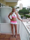 amateur photo Cute little pink and white outfit on a lovely blonde!