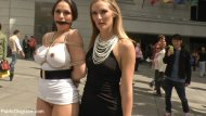 Marta la Croft and Mona Wales - Bound & Dragged Through Madrid City Center