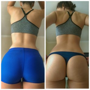 amateur photo Workout shorts on and off.