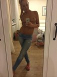 amateur photo Topless Cutie In Jeans and Flip-Flops