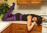 Purple stripes on the kitchen counter