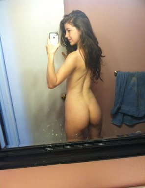 amateur photo bathroom brunette rearshot