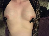 Having [f]un with my vibrating nipple clamps