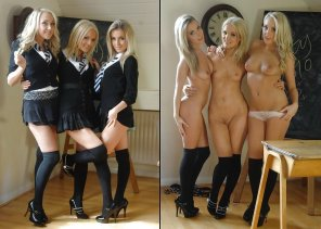 amateur photo Three Blonde Schoolgirls