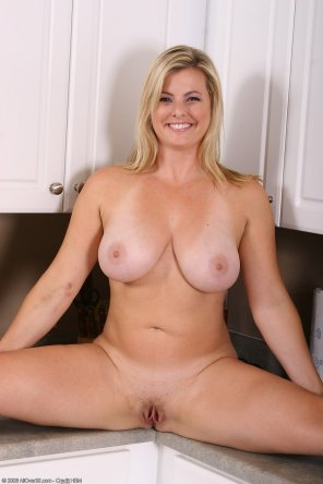 amateur photo A Blonde MILF Spread in the Kitchen