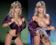 amateur photo 80's chick takes her guns out