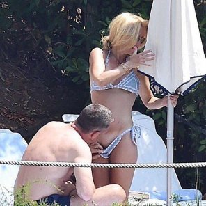 amateur photo Gillian Anderson ignoring a guy pulling down her bikini and looking at her pussy
