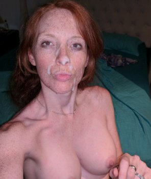 amateur photo Love cum on my ginger face