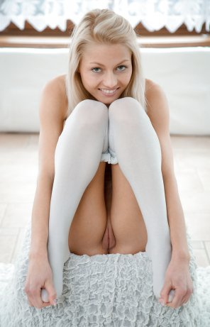 amateur photo Blonde Girl in Stockings