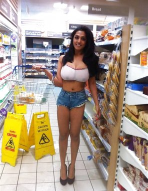 amateur photo At the Supermarket - Caution Wet... Floor.
