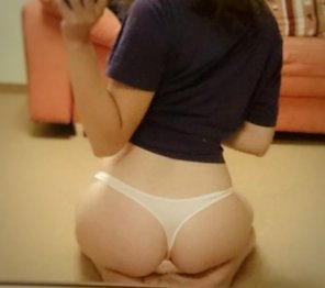 amateur photo White thong to match my white ass 😋