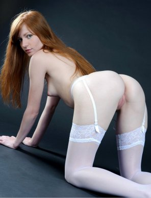 amateur photo Elegant redhead in garter belts and stockings