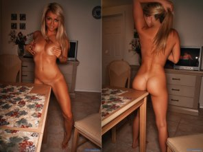 amateur photo Bend her over the table