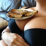 amateur photo Lucy Collett having a few pieces of well served toast