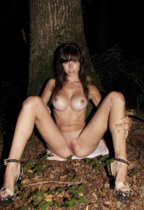 amateur photo Big Tis Brunette Outside