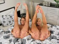 amateur photo Two cute girls with pink feet