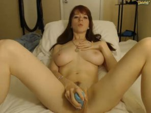 amateur photo Blue dildo