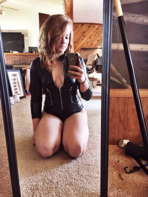 amateur photo Leather one piece