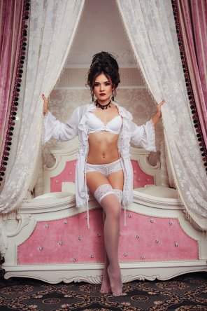 amateur photo Looking Posh in White Lingerie