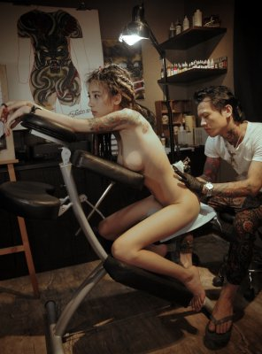 amateur photo Getting a tattoo