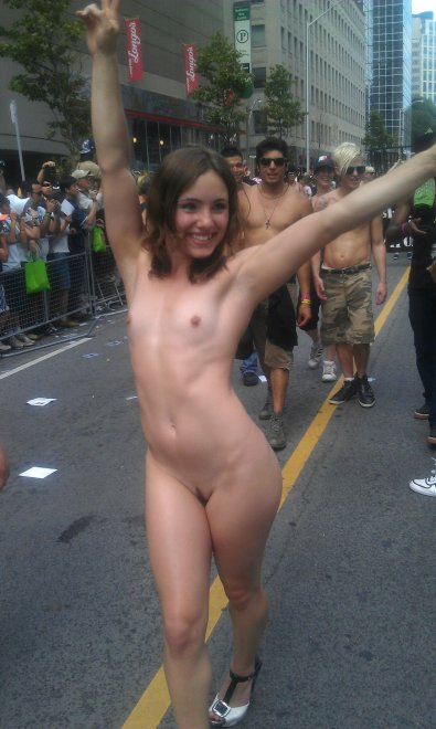 A glorious display of female power in a public street Porn Photo
