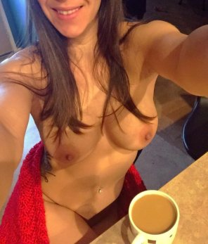 amateur photo Enjoying her morning coffee