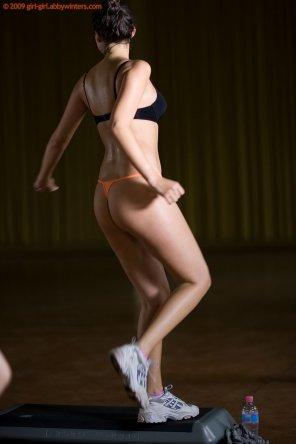 amateur photo Sweaty orange thong