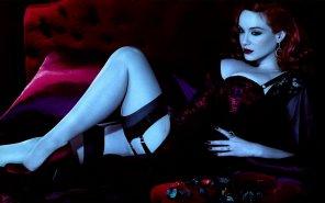 amateur photo Christina Hendricks in stockings