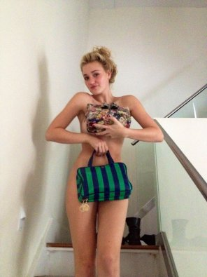 amateur photo AJ Michalka covering her private parts