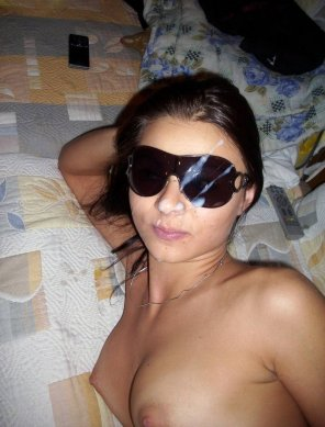 amateur photo Smudged her glasses....