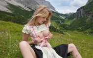 Milkmaid in the mountains