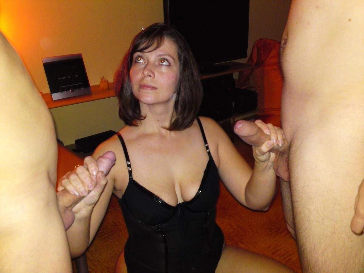 Brunette Wife Two Cocks