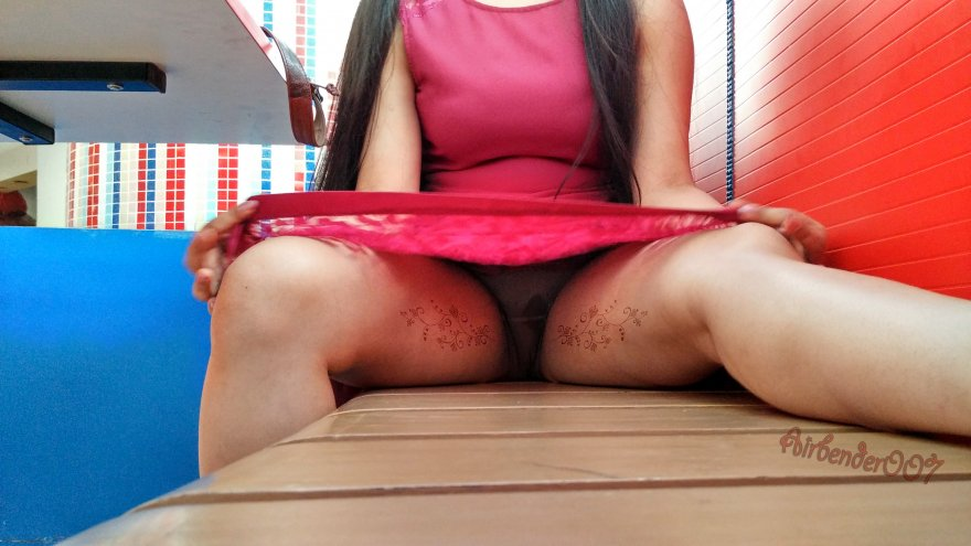 Original ContentThe thrill of raising my skirt and spreading open for you all at a public restaurant at peak hours is surely getting me really soaked Porn Photo