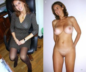 amateur photo MILF in an office chair