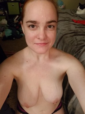 amateur photo My husband says I am a good cumslut with a pierced nipple. Do you want to add to it? [F]