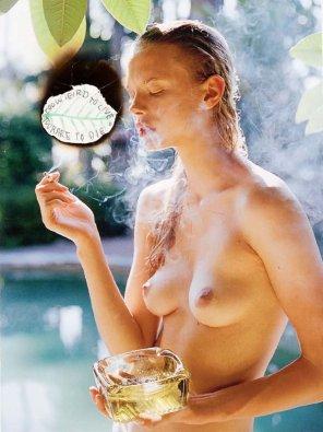 amateur photo Literally smoking