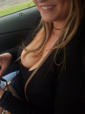 amateur photo Road trip cleavage. Maybe it will be a bumpy ride?