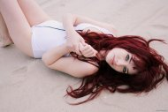 Susan Coffey in the sand