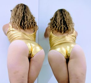 amateur photo A new gold leotard, should i wear this on the pole?